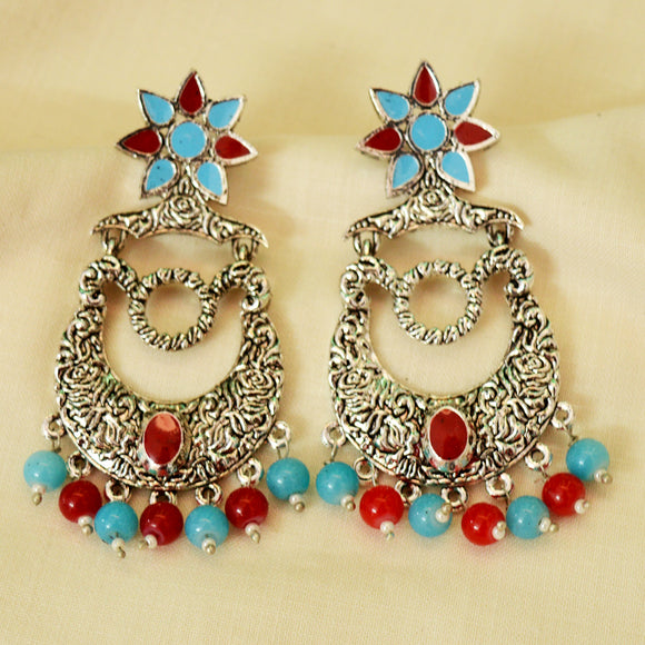 German Silver Oxidized Bali Earrings Flower Design Sky Blue Red