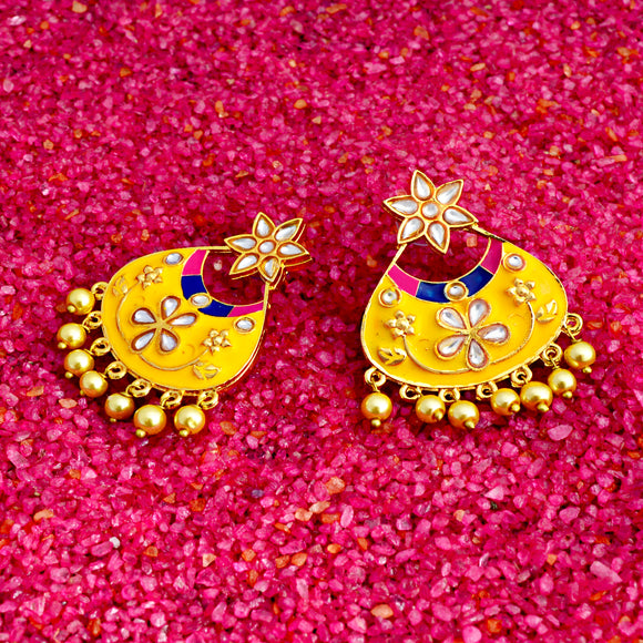 Kundan Meena Bali Dangler Flower Design Earrings Yellow