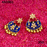Kundan Meena Bali Dangler Flower Design Earrings Blue