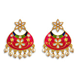 Kundan Meena Bali Dangler Flower Design Earrings Pink