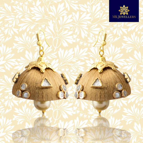Stylish Kundan Silk Thread Jhumka Pearl Earrings Golden