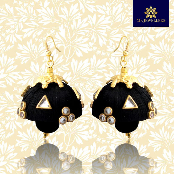 Stylish Kundan Silk Thread Jhumka Pearl Earrings Black