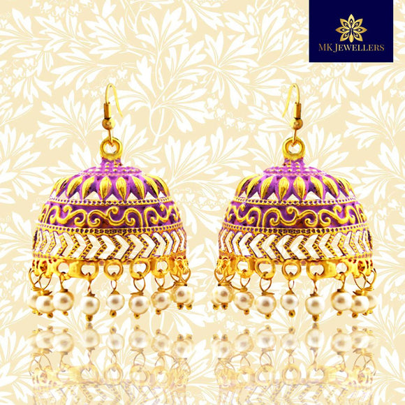 Traditional Mate Meena Jhumka Earrings Dome Shape Purple
