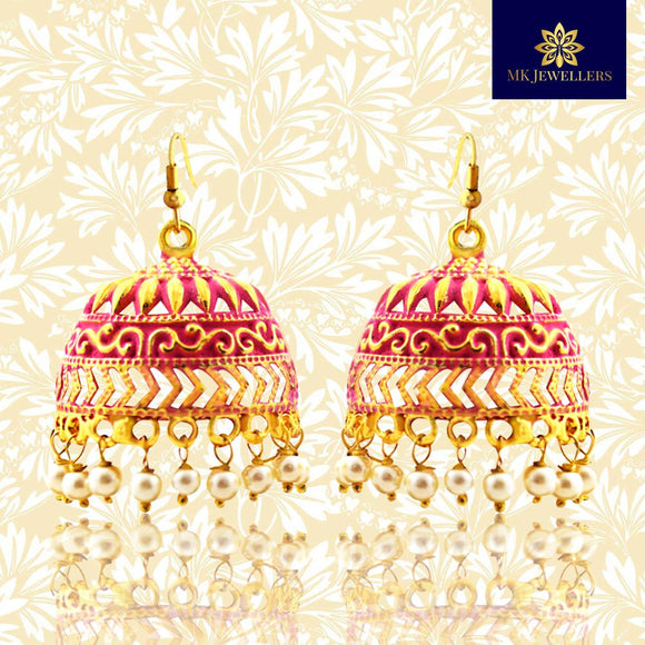 Traditional Mate Meena Jhumka Earrings Dome Shape Red