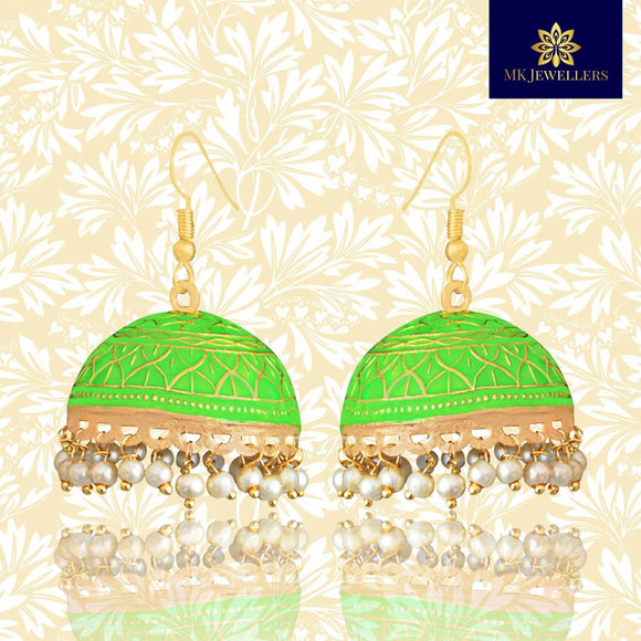Ethnic Meenakari Jhumka Pearl Earrings Dome Shape Green