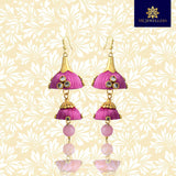Stylish Kundan Silk Thread Jhumka Double Layer Earrings Pink