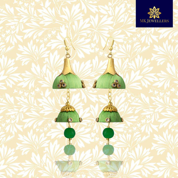 Stylish Kundan Silk Thread Jhumka Double Layer Earrings Green