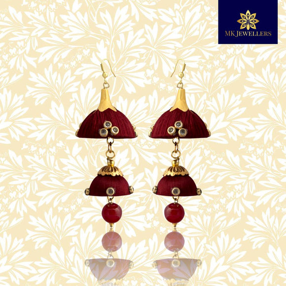 Stylish Kundan Silk Thread Jhumka Double Layer Earrings Maroon