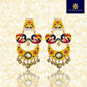 Kundan Meenakari Chandbali Earrings Dual Peacock Design Yellow Pink