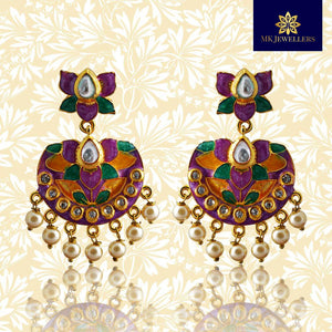 Kundan Meenakari Chandbali Dangler Lotus Shape Earrings Purple Yellow