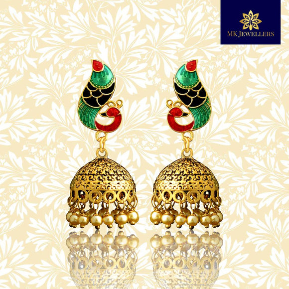 Meenakari Dome Jhumki Earrings Peacock Shape Green Maroon