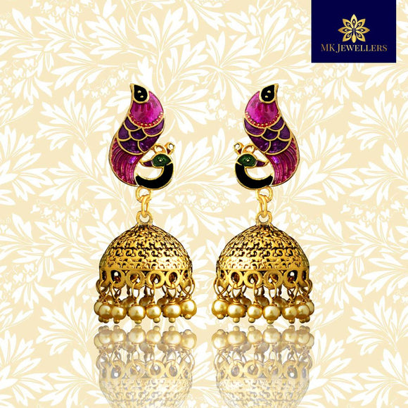 Meenakari Dome Jhumki Earrings Peacock Shape Pink Purple
