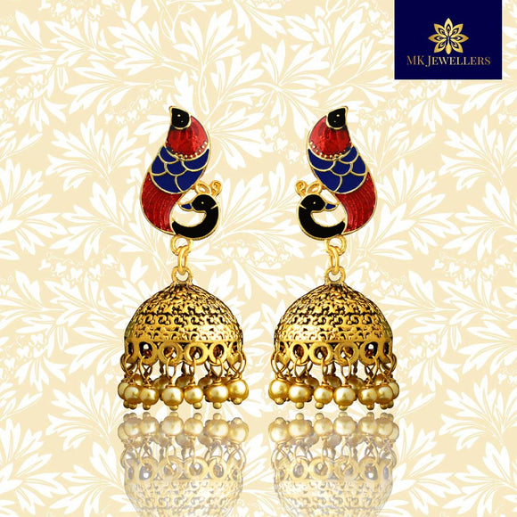 Meenakari Dome Jhumki Earrings Peacock Shape Blue Maroon