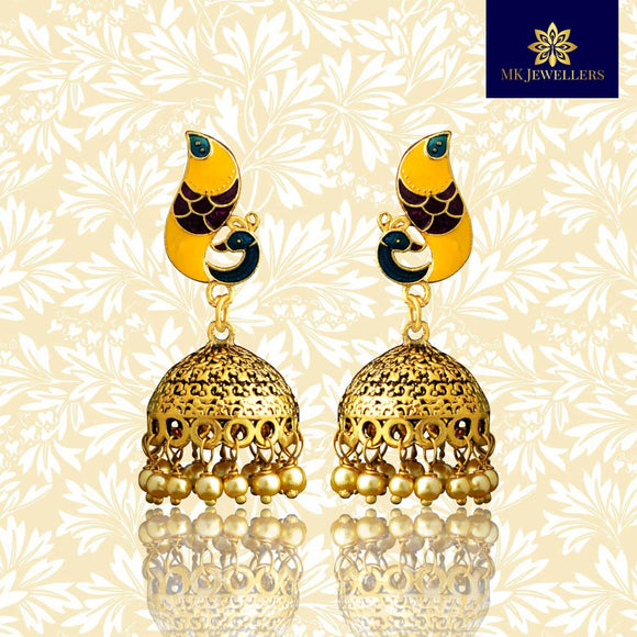 Meenakari Dome Jhumki Earrings Peacock Shape Yellow Purple