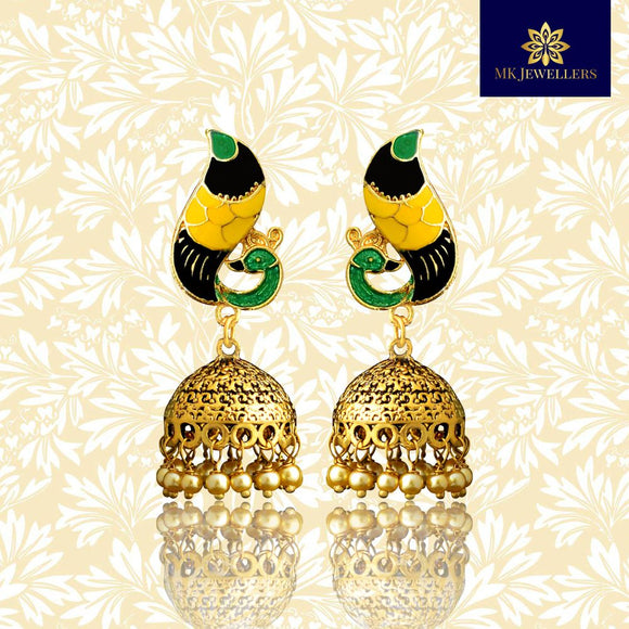 Meenakari Dome Jhumki Earrings Peacock Shape Green Yellow