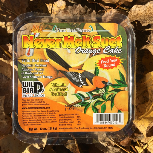 Never Melt Orange Suet Cake by Pine Tree Farms