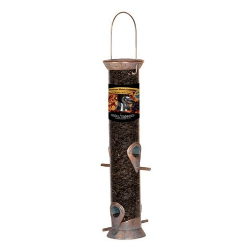 "Droll Yankees Precious Metals 15"" Sunflower Tube Feeder (Copper Patina)"