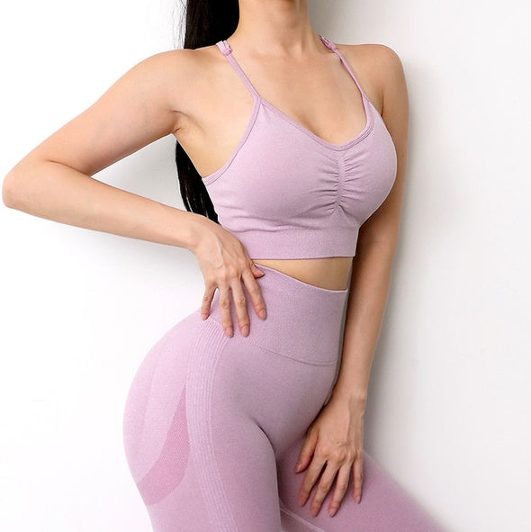 Women Seamless Yoga Set Fitness Sports Suits Gym Clothing