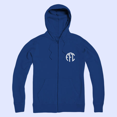 EFC Monogram White EFC Circle Monogram Premium Adult Zip Hoodie - The Toffees Shop