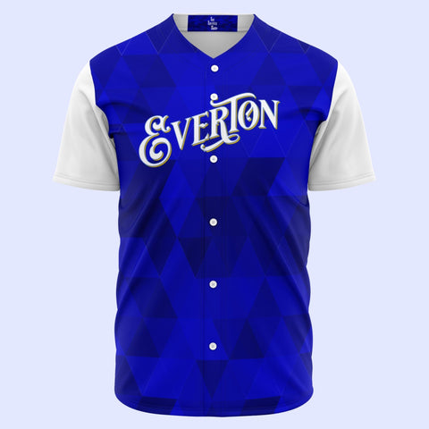 Everton Royal Signage Baseball Jersey Blue Pattern with White Sleeves