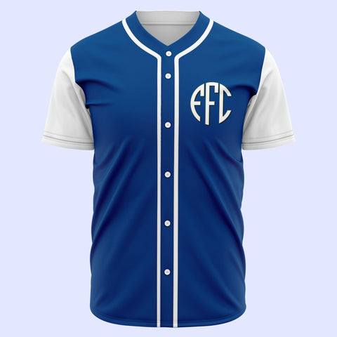 EFC Circle Monogram Baseball Jersey - Royal Blue with White Sleeves - The Toffees Shop