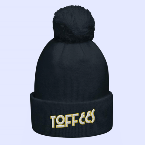 Toffees Art Deco Lettering Pom Pom Bobble Beanie - The Toffees Shop