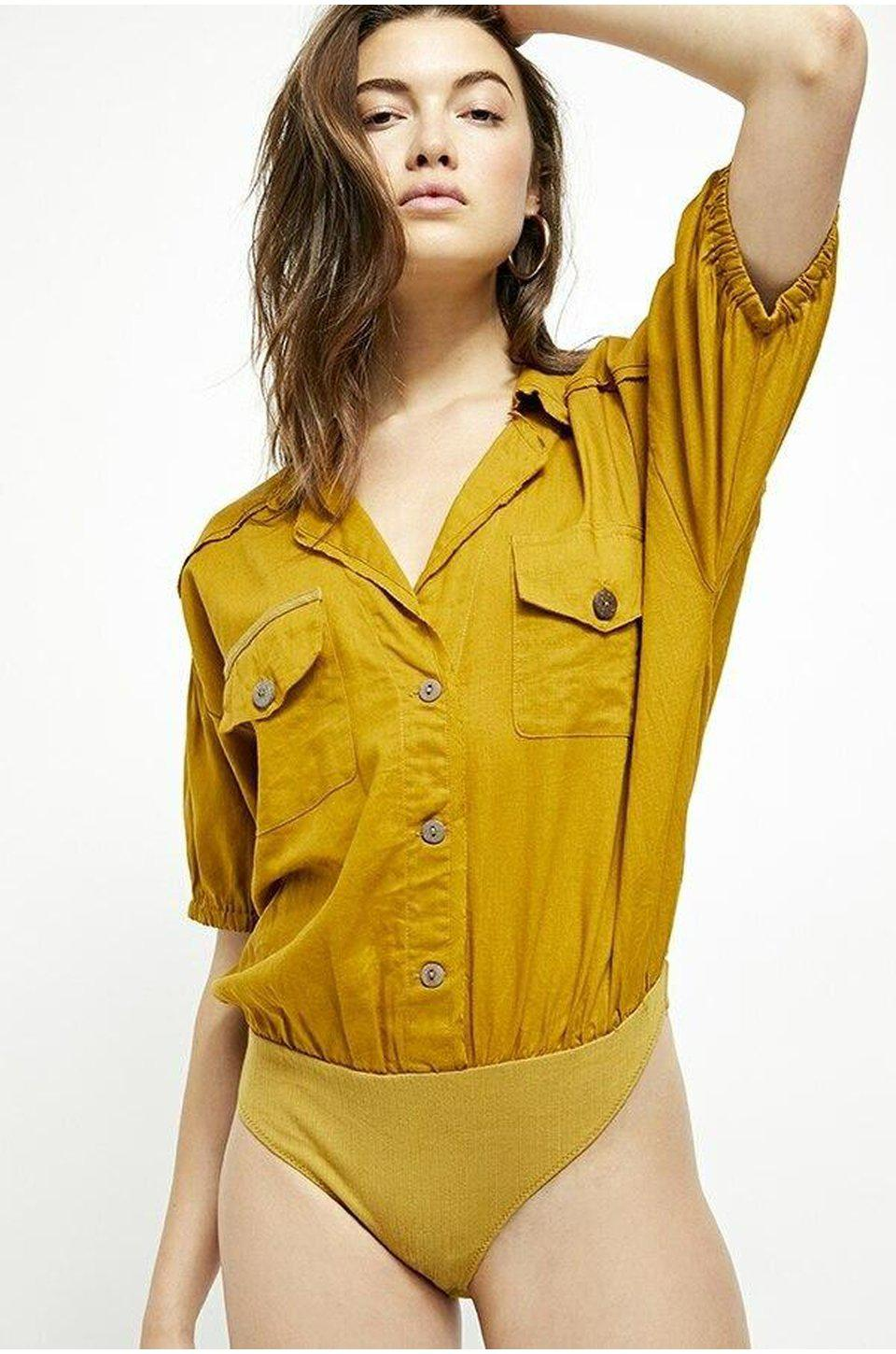 Free People So-Fari Bodysuit In Khaki
