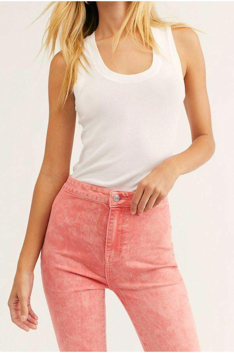 Free People Float On Flare Bellbottom Jeans In Dark Pink