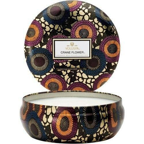 Voluspa Crane Flower 3 Wick Tin Candle