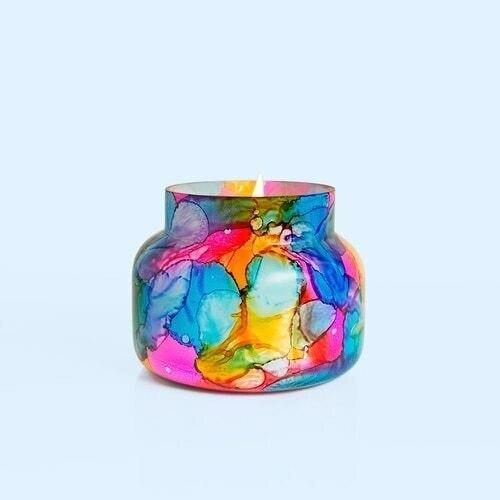 Capri Blue Volcano Rainbow Watercolor Signature Candle Jar