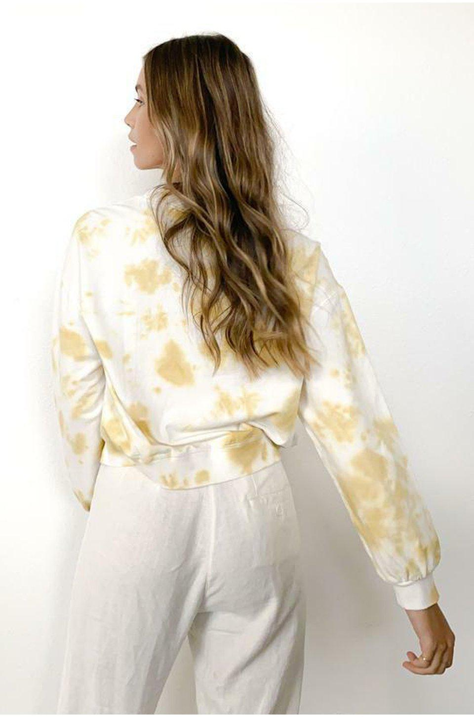 Knot Sisters Madison Crew Neck Sweatshirt In Gold Tie-Dye