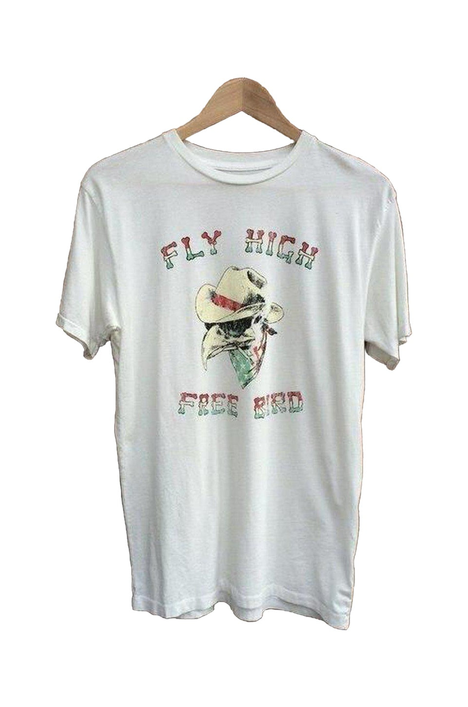 Bandit Brand Cowboy Fly High Free Bird T-Shirt In White