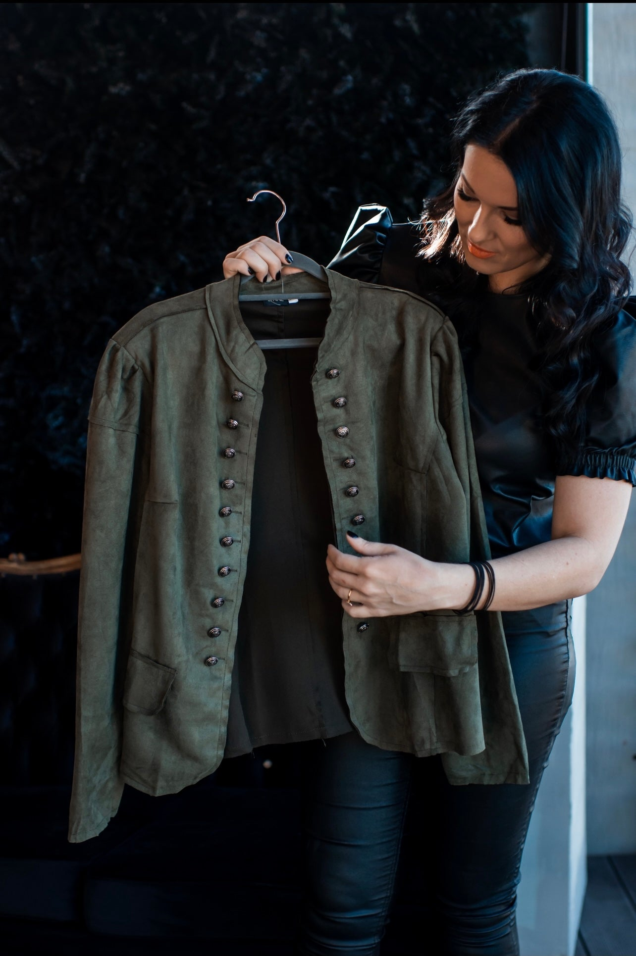 Suede Jacket : Army Green