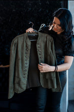 Load image into Gallery viewer, Suede Jacket : Army Green
