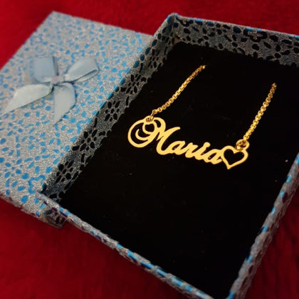 Personalized Name Necklace With Mini Heart