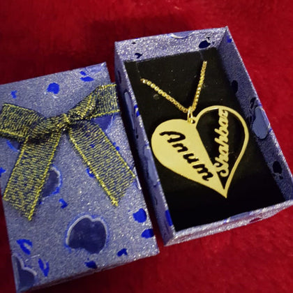 Personalized Couple Necklace Name Inside Heart