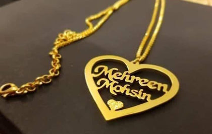 Personalized Necklace Gold Platted Name in Heart