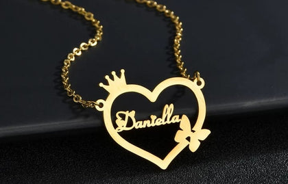 Personalized Necklace Name In Heart & Butterfly