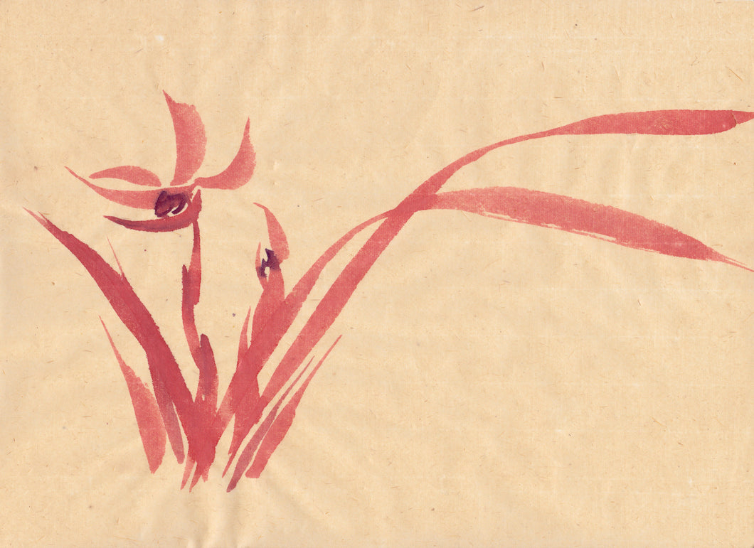 Red Orchid Sumi-e Japanese Brush Painting Greeting Card