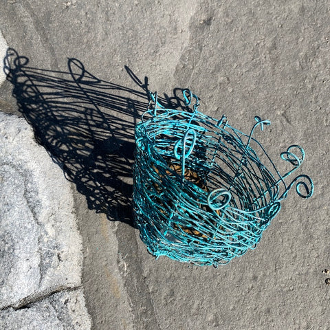 Turquoise woven wire Trapper Basket