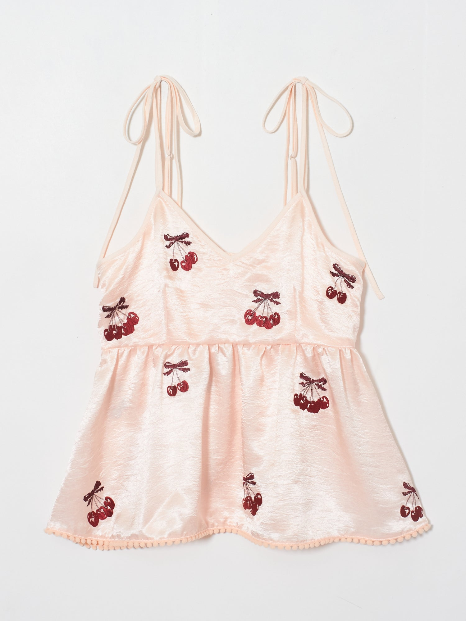 Red cherry satin camisole