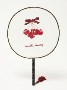 Red cherry cloth fan