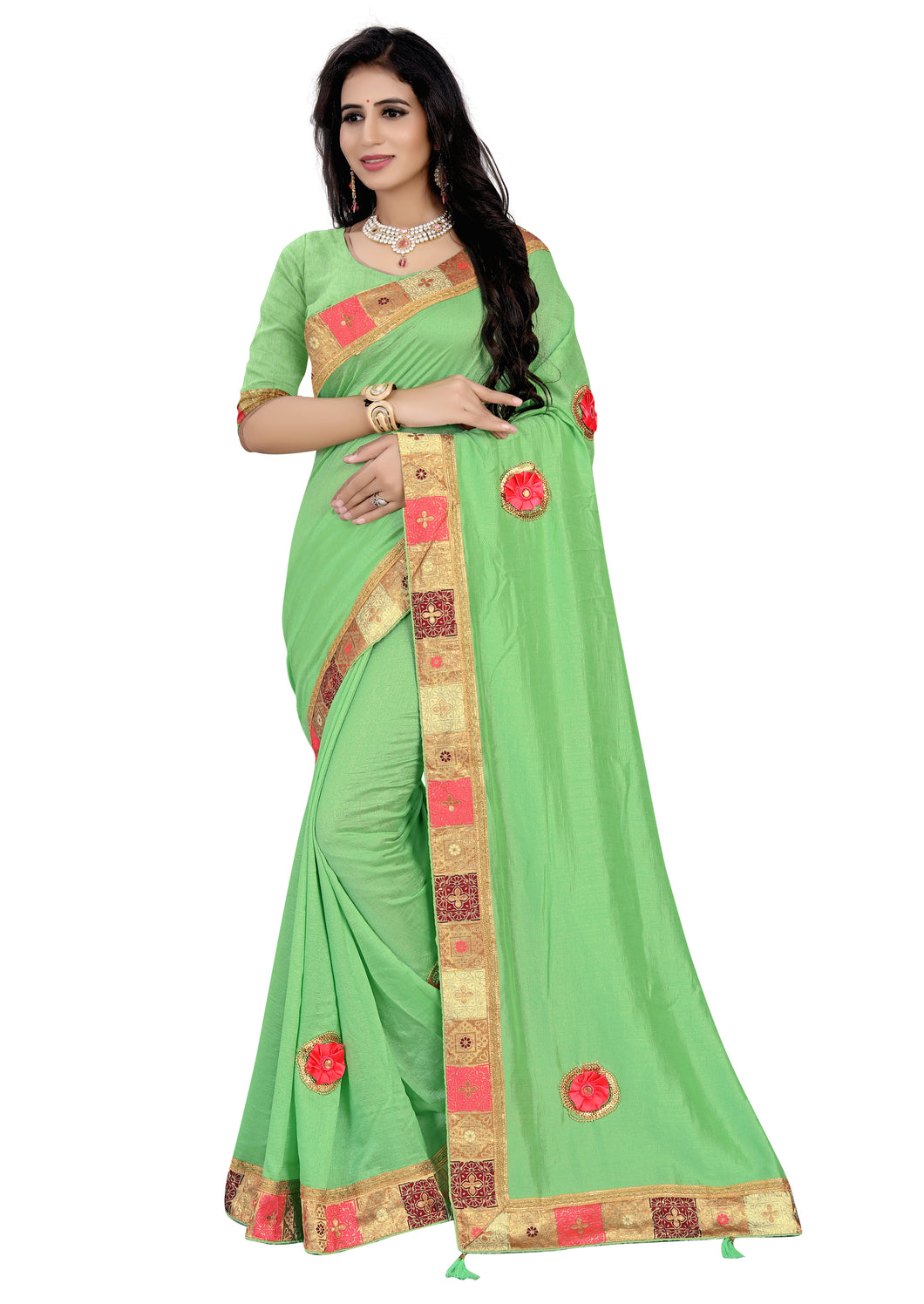 Vichitra Silk Saree With Blouse Piece