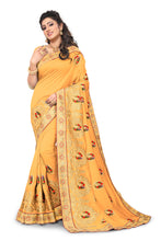 Load image into Gallery viewer, Vichitra Silk Kundan Saree With Blouse Piece