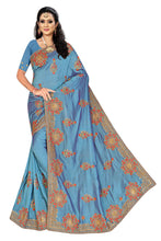 Load image into Gallery viewer, Vichitra Silk Stone Work Saree With Work Blouse Piece