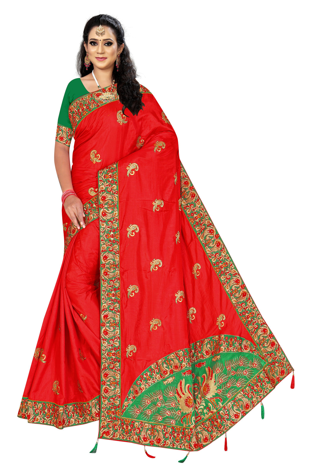 Sanna Silk EMBROIDERY Work Saree With Work Blouse Piece