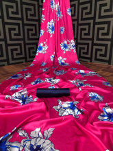 Load image into Gallery viewer, SAREEALL PRESENTS PURE JAPAN SATIN PRINTED SAREE