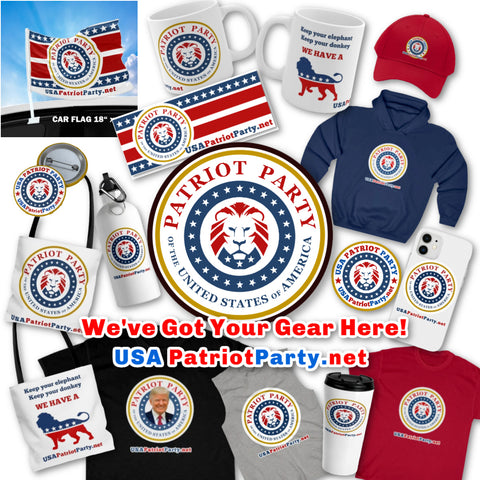 Patriot Party items, merchandise, hat, flag, T shirt, hoodie, mug, bumper sticker, tote bag, cell phone case