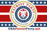 USA Patriot Party Merch, Hats, T shirts, gifts, bumper sticker, flag. Support the Patriot Party and Donald Trump's vision for America