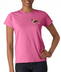 Basset Hound Custom Machine Embroidered Ladies Tshirt